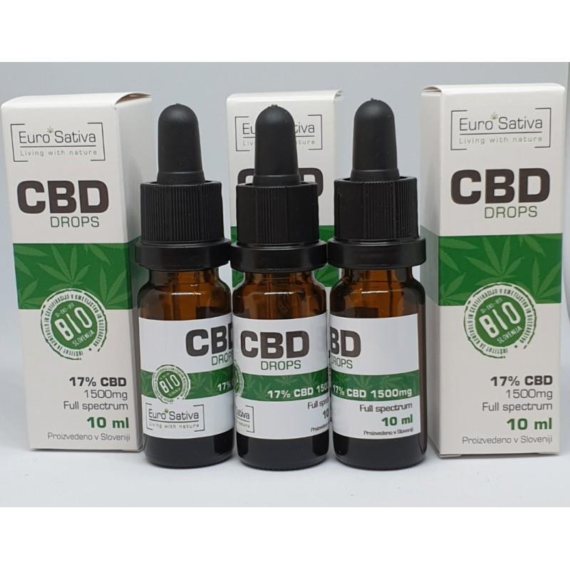 17% CBD kapljice 3 kos 10ml, 3x1700 mg, Neredčen Original