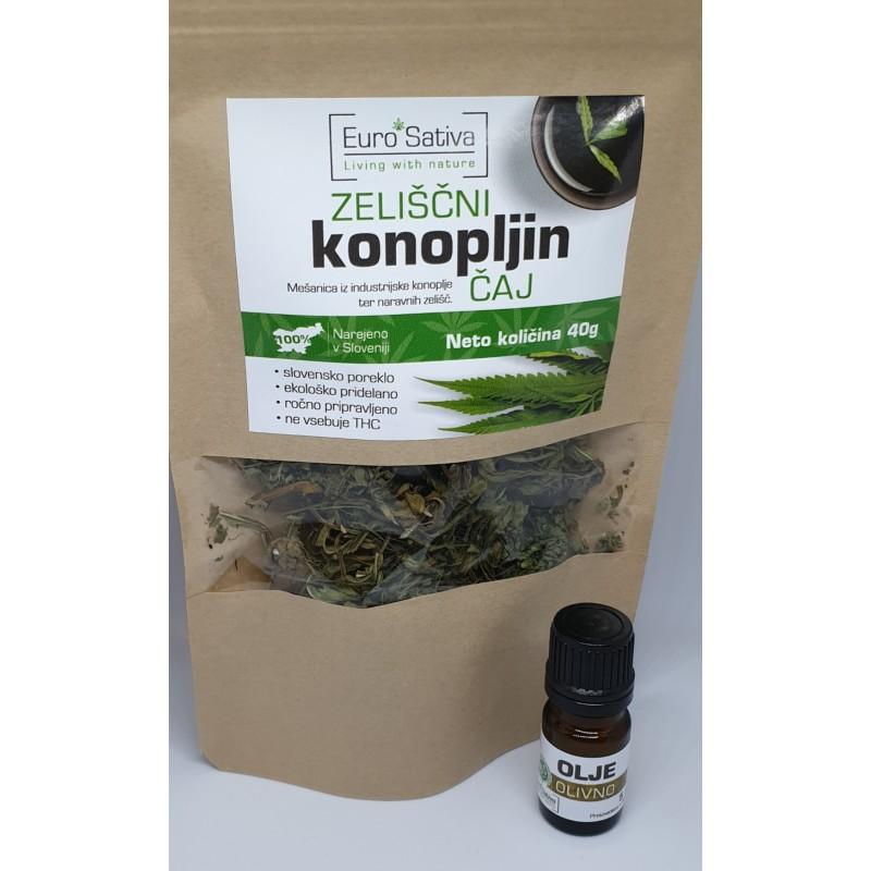 Konopljin čaj z zelišči 40g + darilo 5ml olivno olje
